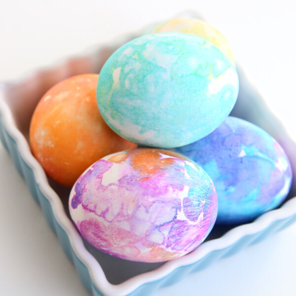 Easter eggs decorated with different colors