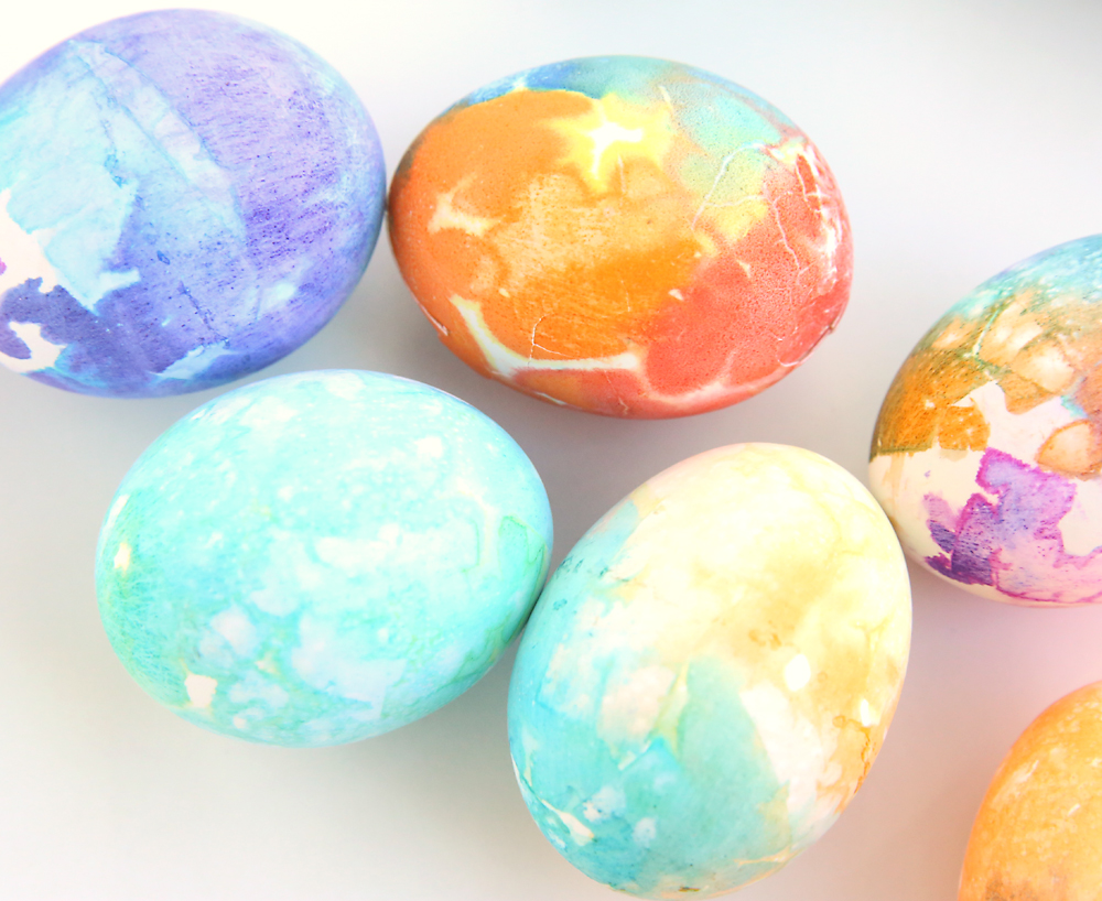 Easter eggs dyed many different colors