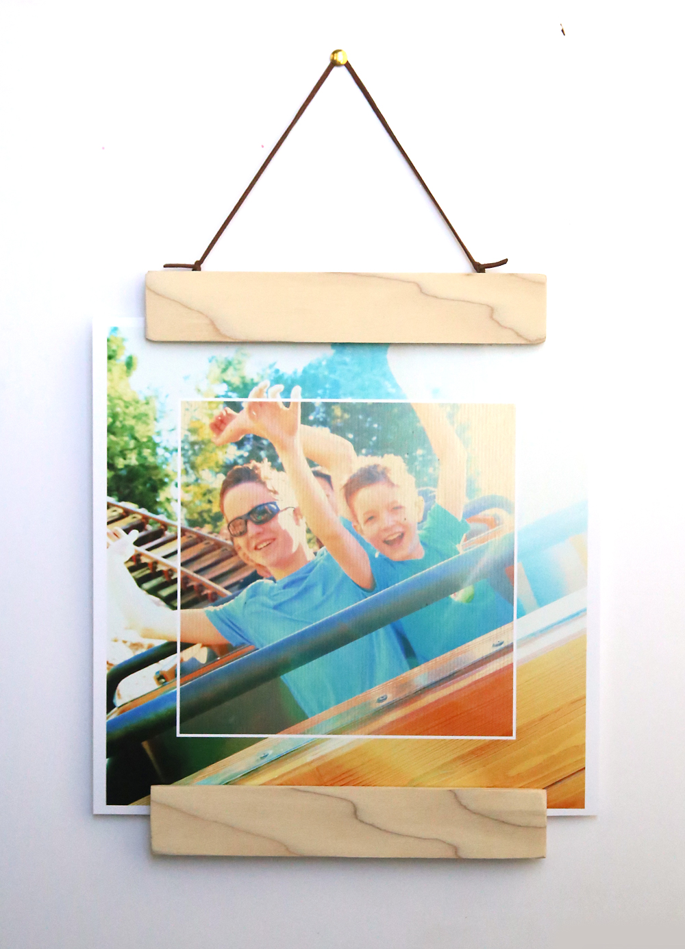 Photo in a hanging wood frame