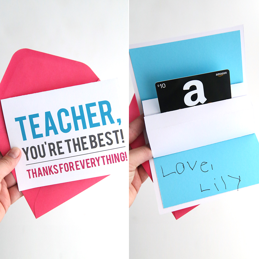 DIY teacher appreciation pop up gift card holder