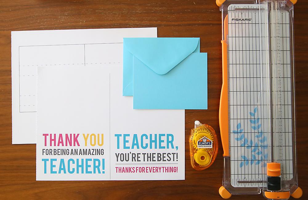 Printable templates for pop up teacher gift card holder, envelopes, paper trimmer, adhesive