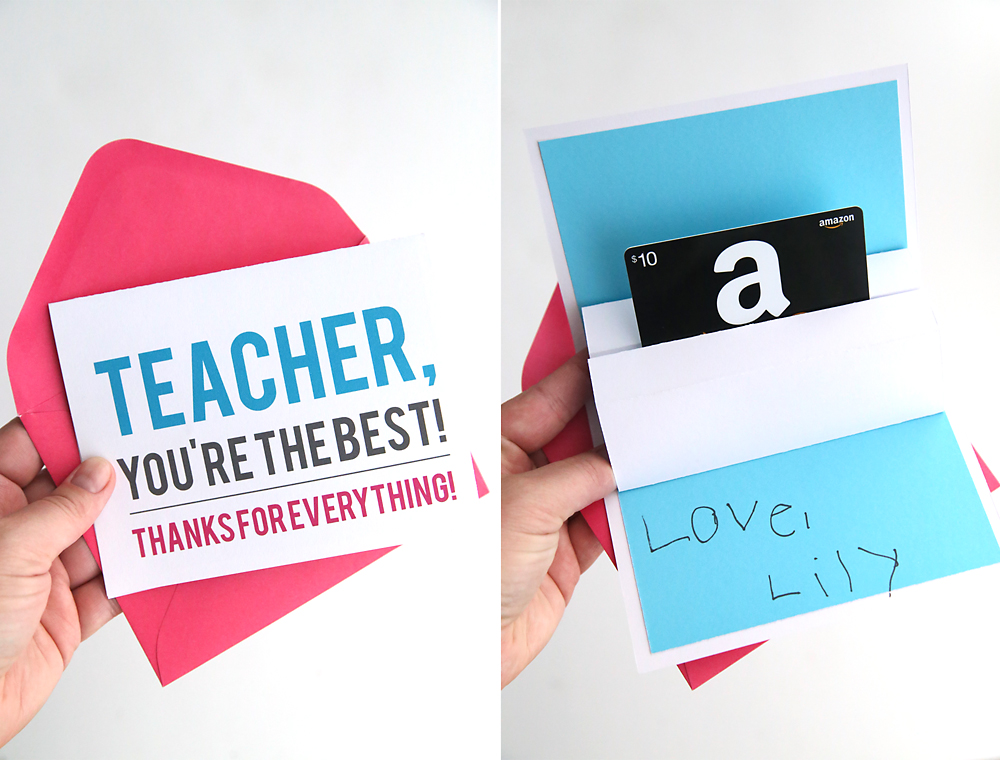 Pop up gift card holder for teacher appreciation
