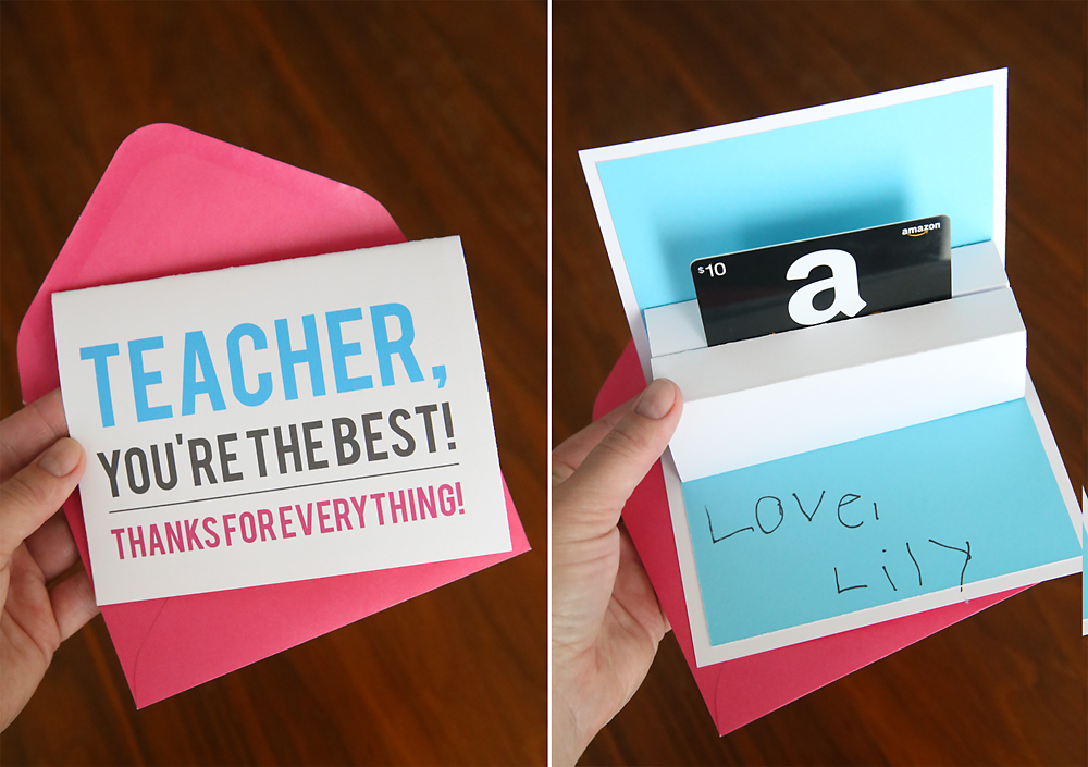 Teacher appreciation card; card opened showing pop up gift card