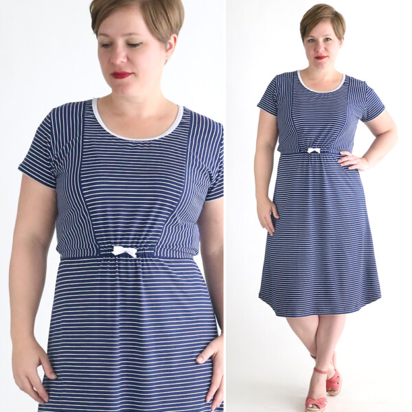 A woman in a striped t-shirt dress made from a free sewing pattern