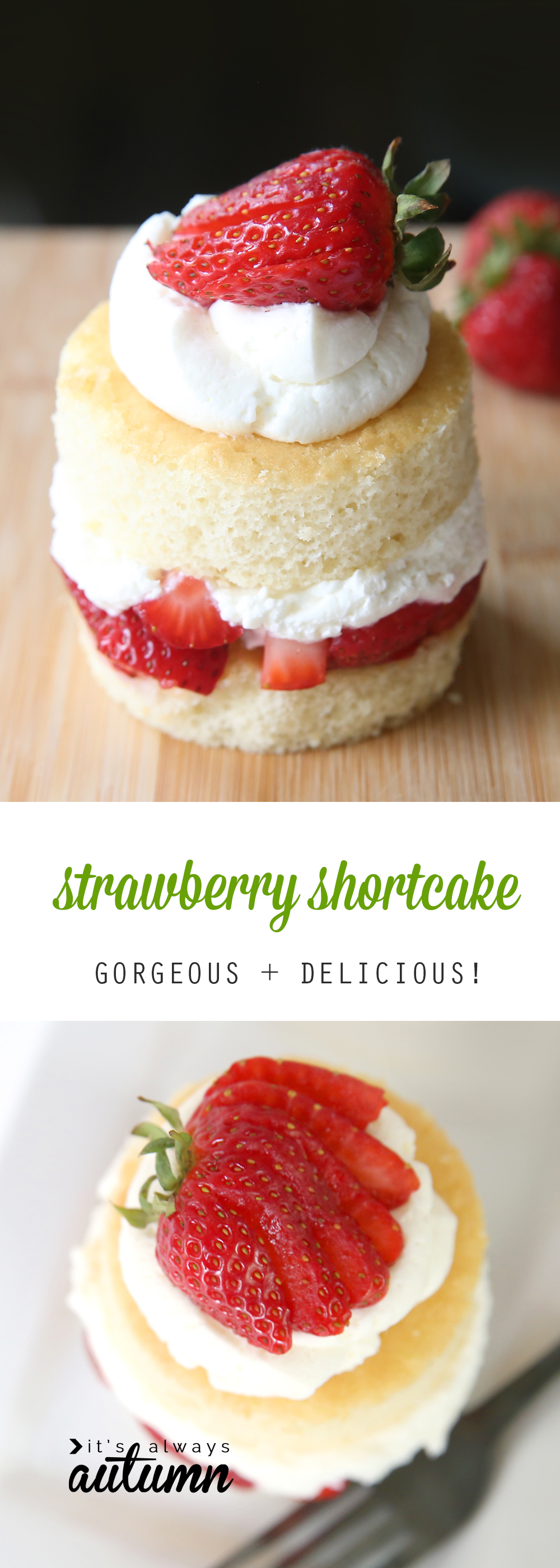 A close up of a round piece of layered strawberry shortcake
