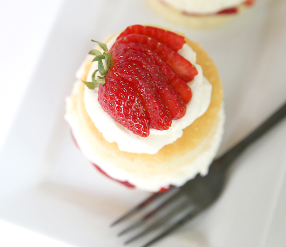 Strawberry shortcake with slice strawberry on top