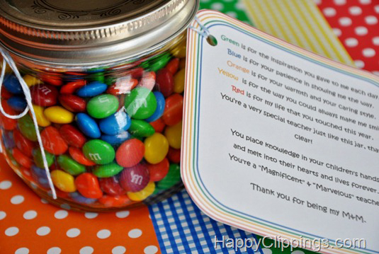 Jar of M&Ms with tag for teacher appreciation