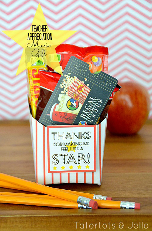 Movie box gift for teacher with movie tickets, popcorn and treats
