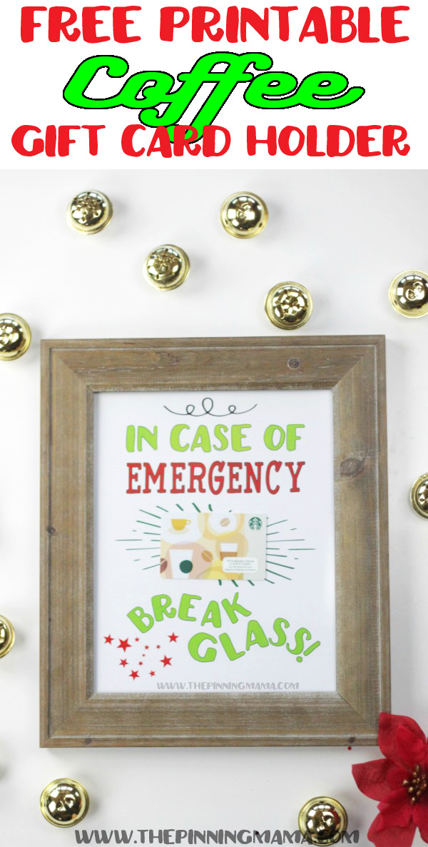 A photo frame with gift card inside and sign that says: in case of emergency break glass