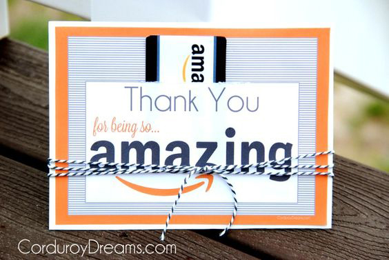 Gift card holder that says thank you for being so amazing
