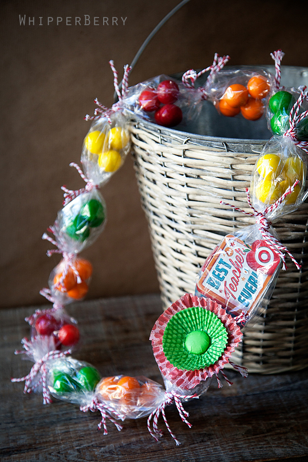 Candy necklace with gift card for a teacher