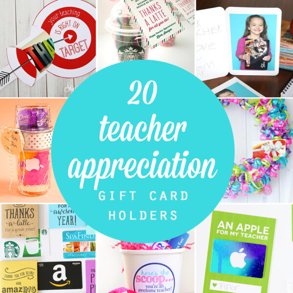 Collage of different teacher appreciation gift card holders
