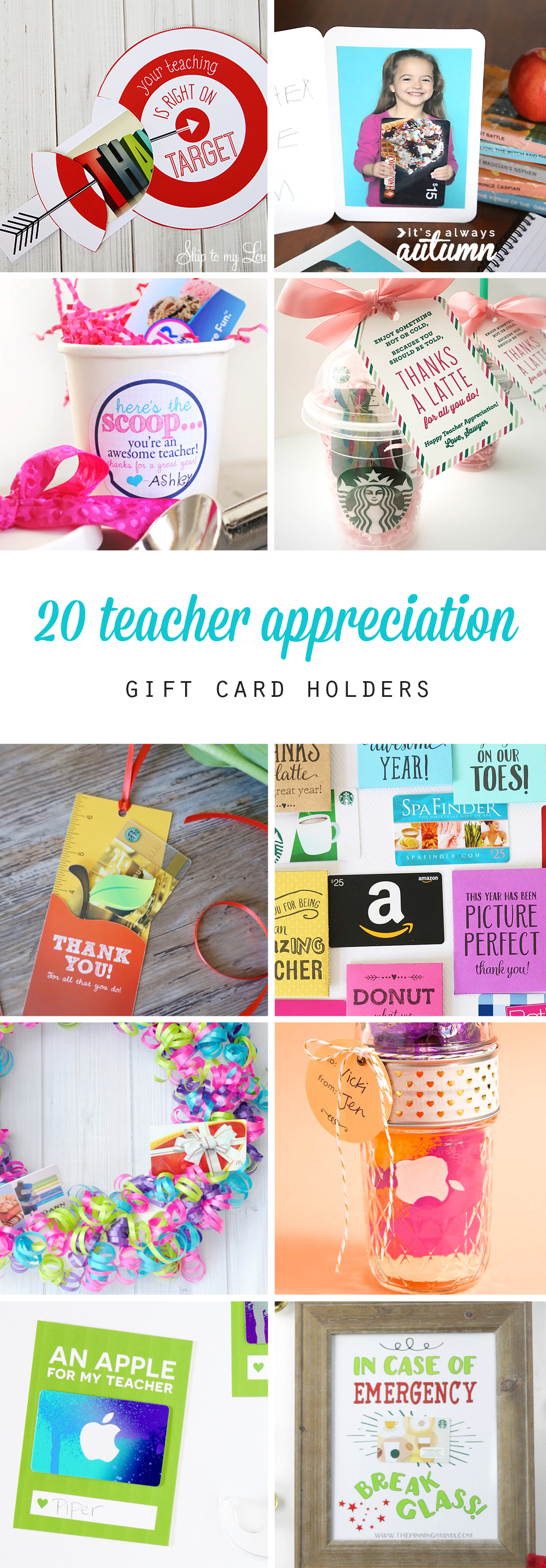 Collage of teacher appreciation gift card holders