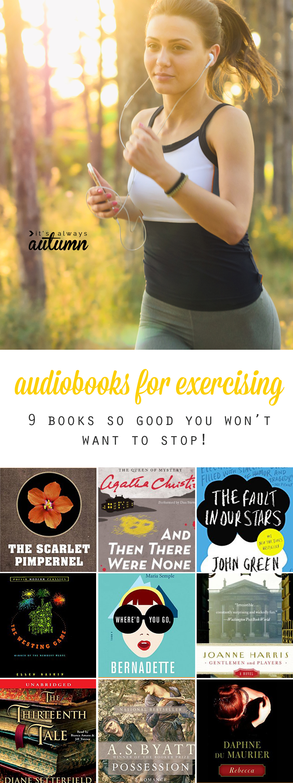 Nine books with an amazing polot twist that you won't want to stop reading! Great audiobooks to listen to while you exercise so you can work out longer!