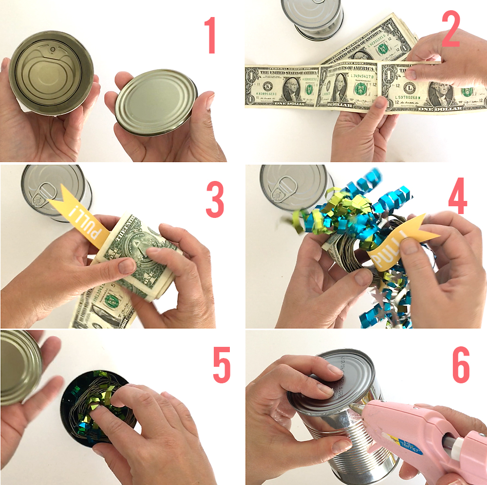 Steps to putting roll of money in a poptop can