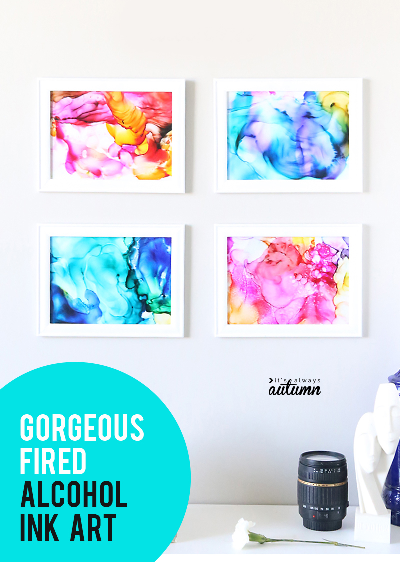 This fired alcohol ink art is SO EASY and turns out gorgeous. It's easy enough kids can do it. Easy DIY artwork, wall art, kid's craft, craft night project, etc.