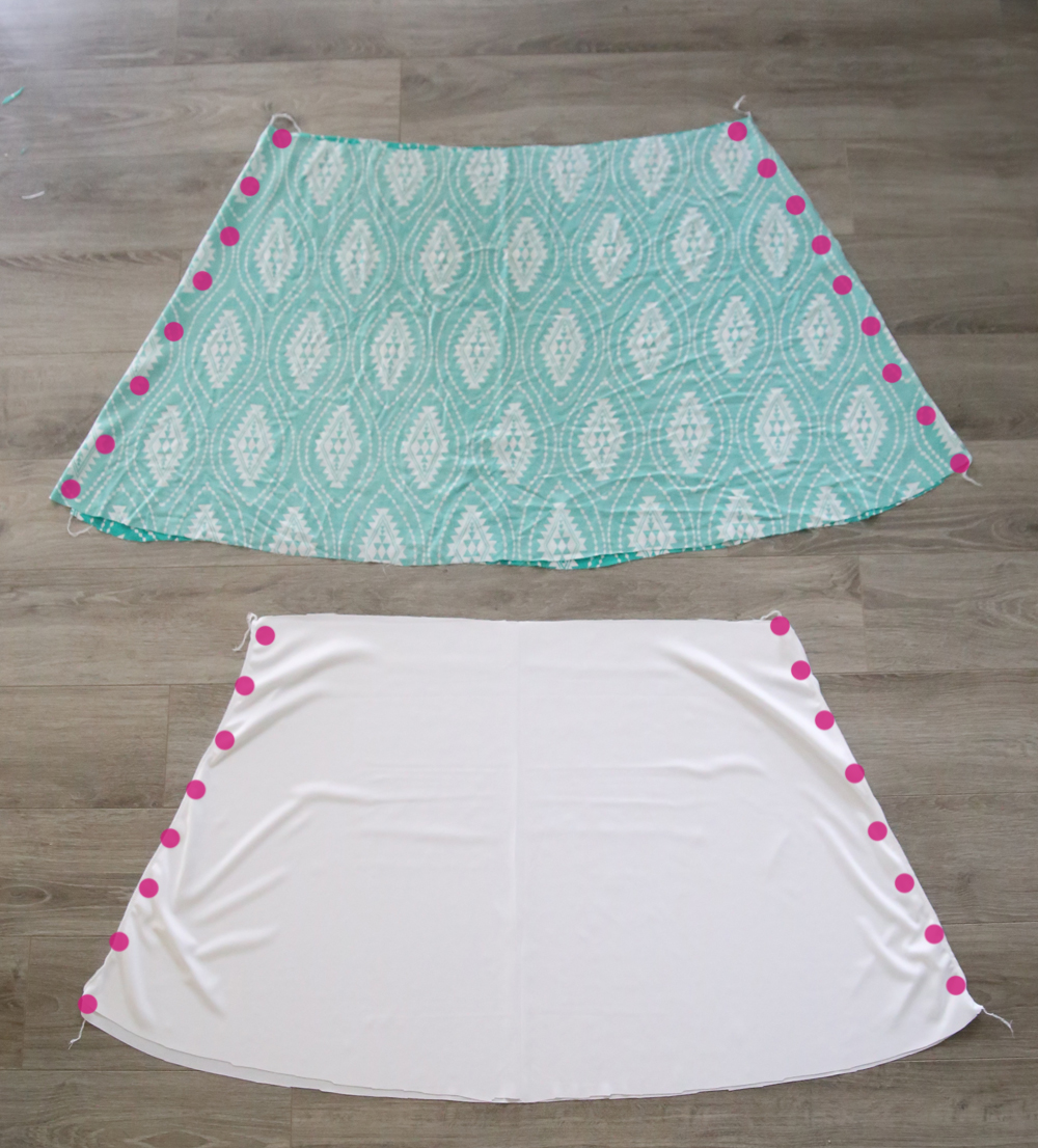 Gathered skirt pieces and lining pieces with side seams marked