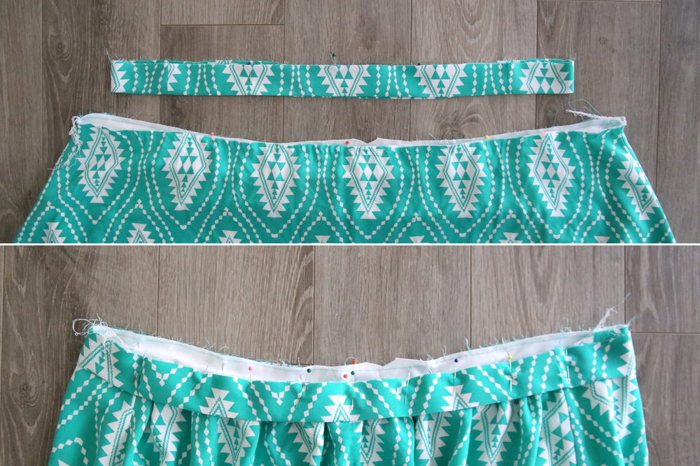 Skirt waistband pinned to top of skirt