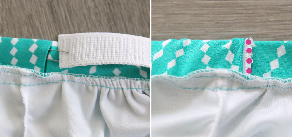 Elastic being threaded into the waistband with a safety pin