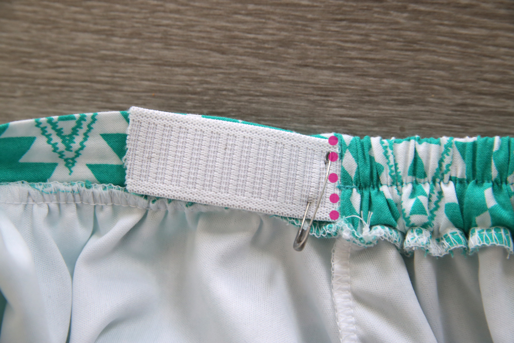 Elastic in the waistband pinned and sewn down when the waistband fits