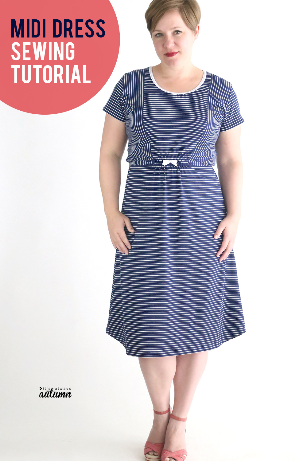 How to sew a cute midi dress using a free t-shirt pattern. Easy women's dress pattern and tutorial.