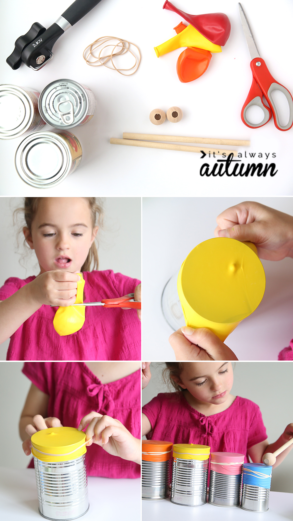 learn how to help your kids make a drum set and a kazoo. easy DIY musical instruments for kids. indoor activity ideas.