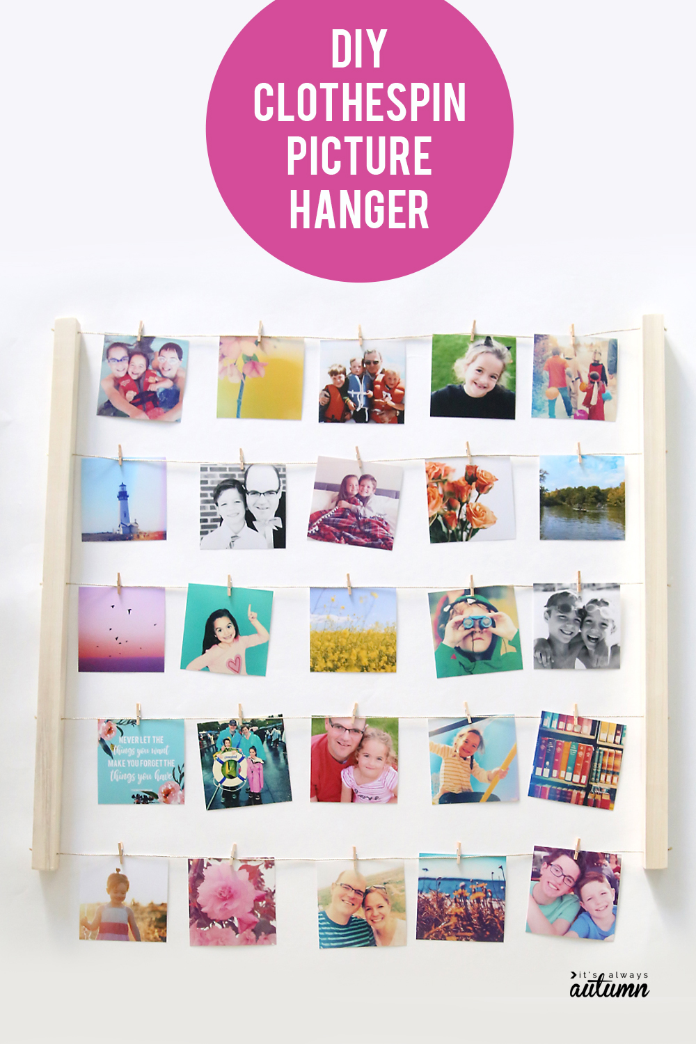 Learn how to make this cute DIY clothespin picture hanger out of some twine and a couple of square dowels - it's super easy! Fun photo display for your home decor.