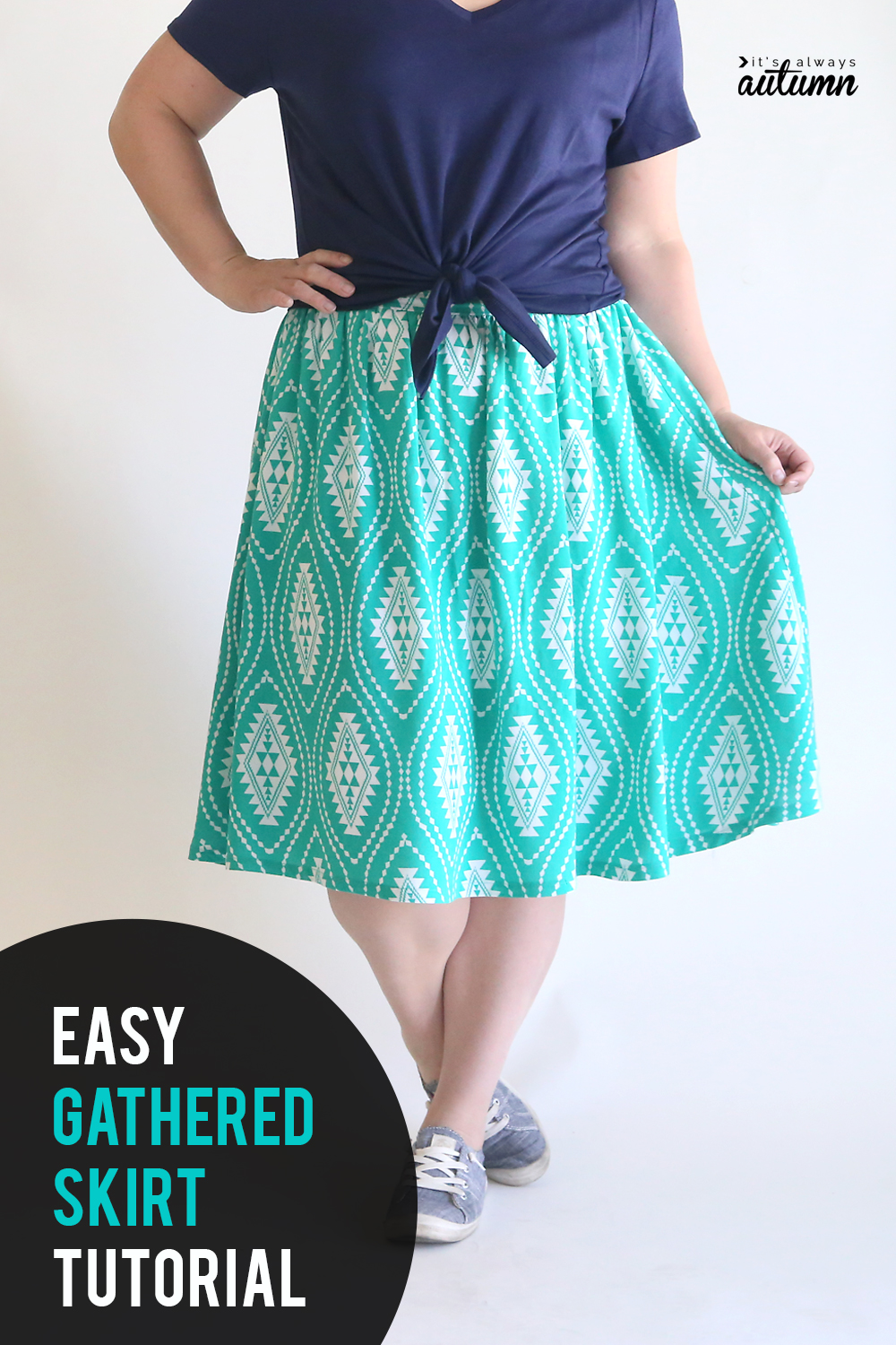 Learn how to make a cute gathered skirt with a flat front waistband.