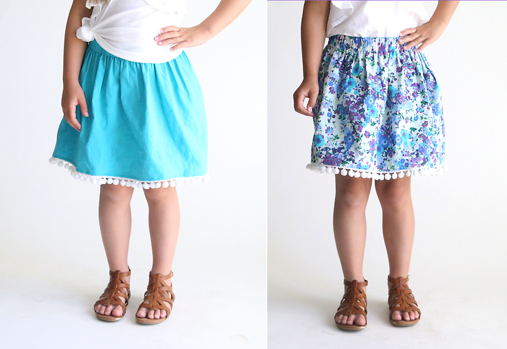 A girl wearing a blue skirt that can be reversed to be a floral skirt