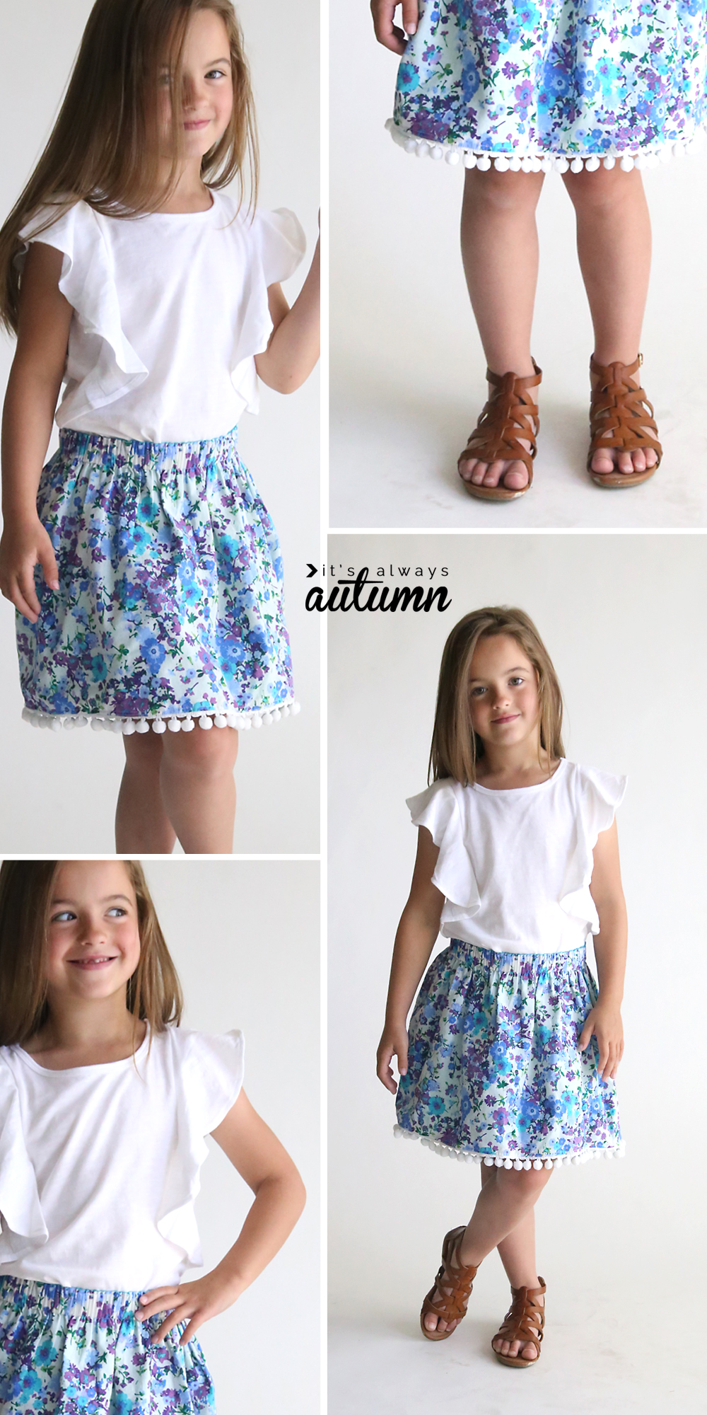 Little girl wearing a floral skirt with pom pom trim