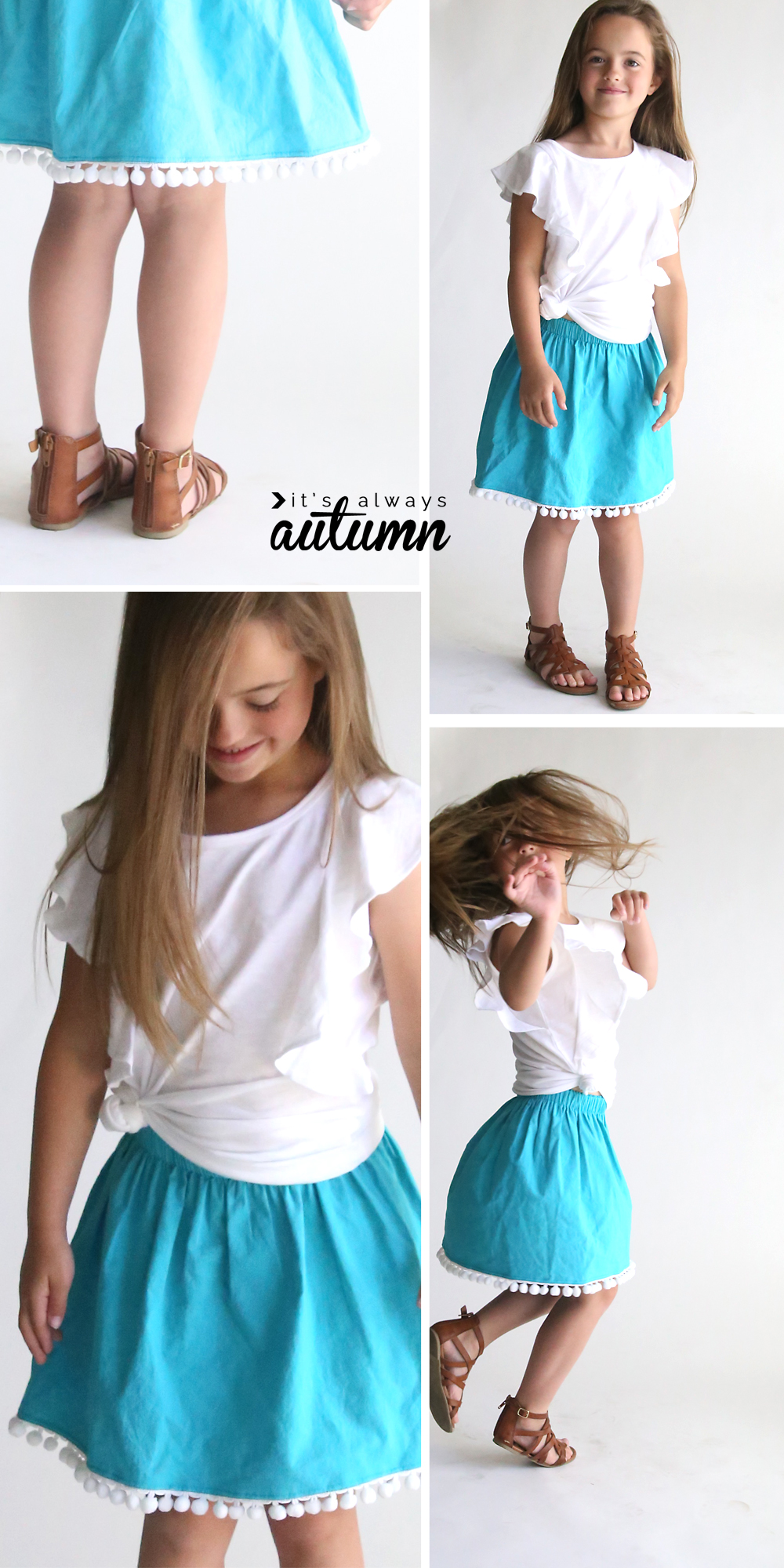 Girl wearing a cute reversible skirt with pom pom trim