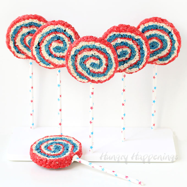 Red, white and blue spiral rice krispie treats