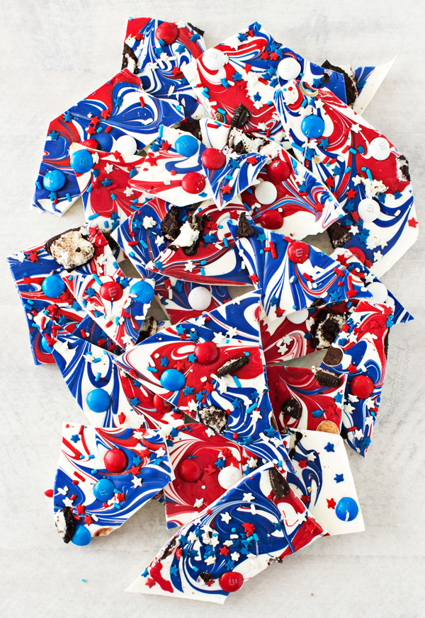 Pieces of red, white, and blue almond bark