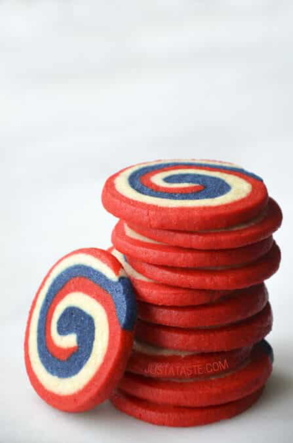 Stack of cookies with red, white and blue spiral for the Fourth of July