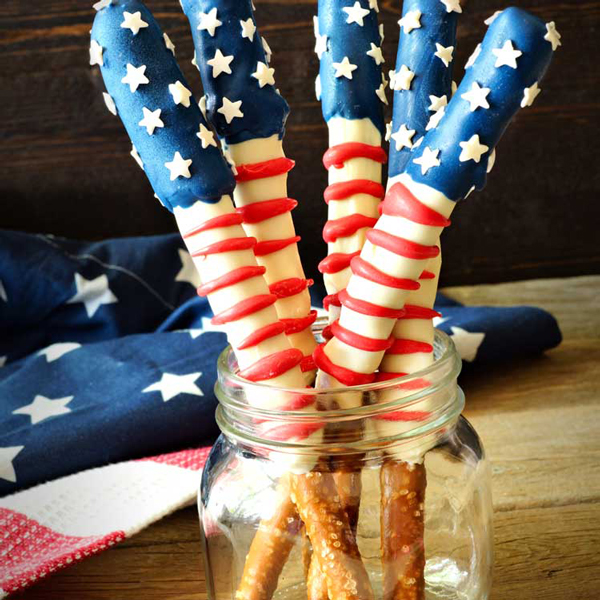 Pretzel sticks decorated with red and white stripes and stars