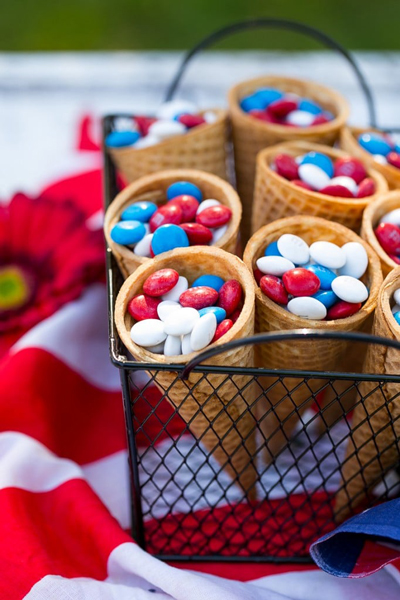 Ice cream cones filled with Fourth of July M&Ms