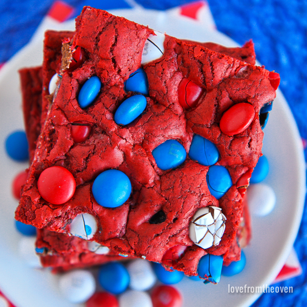 Red cookie bar with red, white, and blue M&Ms in it