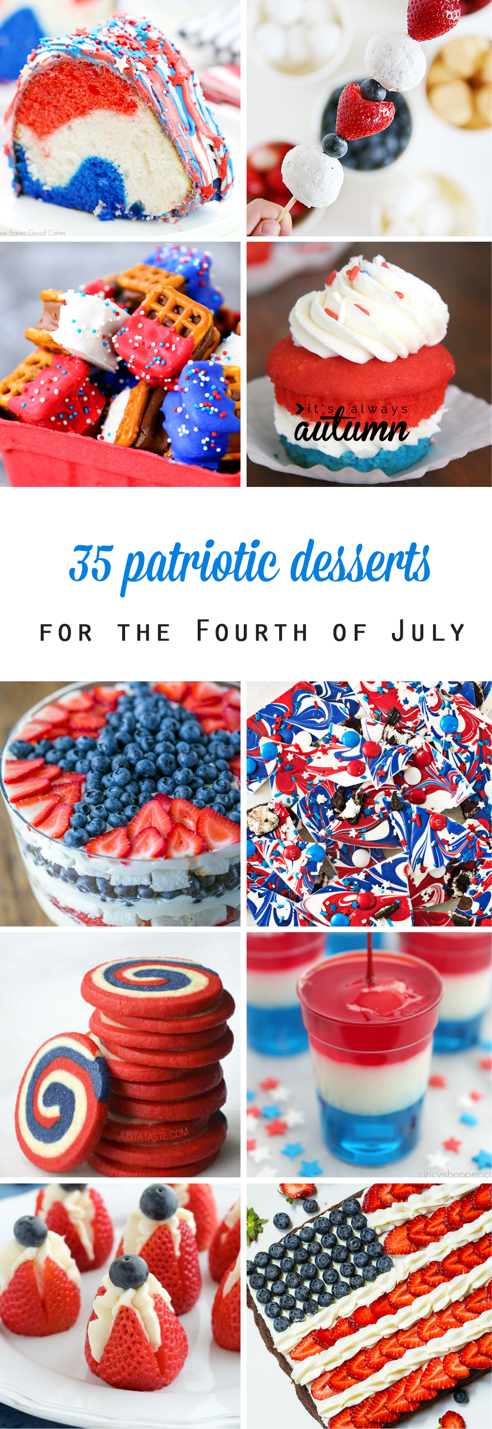 Collage of patriotic desserts for the Fourth of July