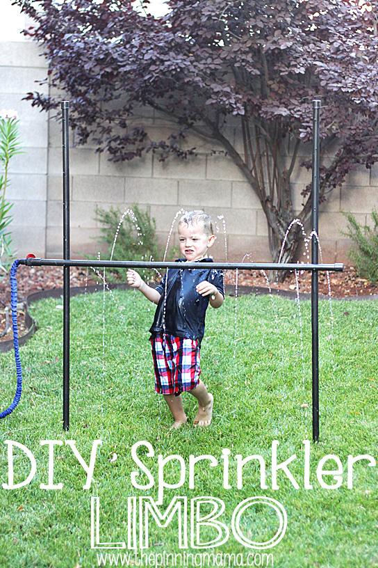 A child playing DIY sprinkler limbo