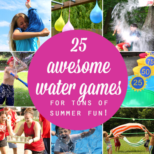 Collage of photos of water balloons and children playing water games