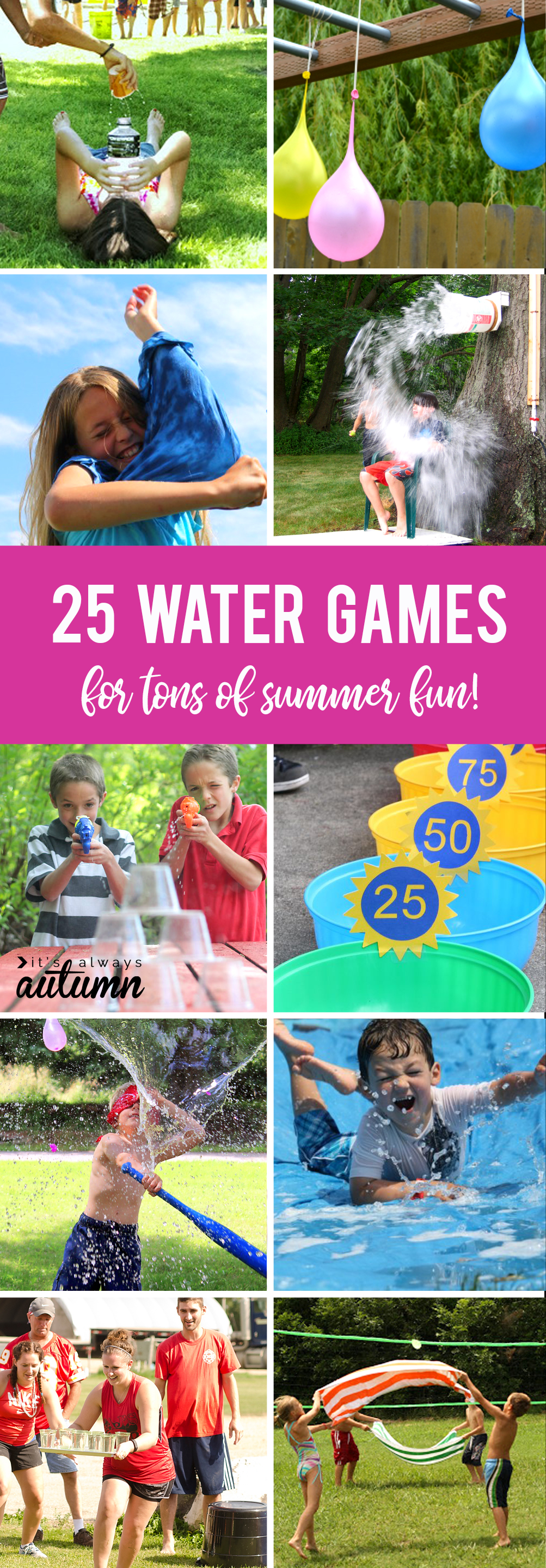 Collage showing various different water games