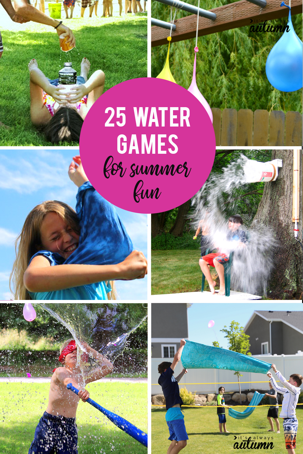 25 water games for tons of fun this summer! Perfect for parties, family reunions, VBS, and more.