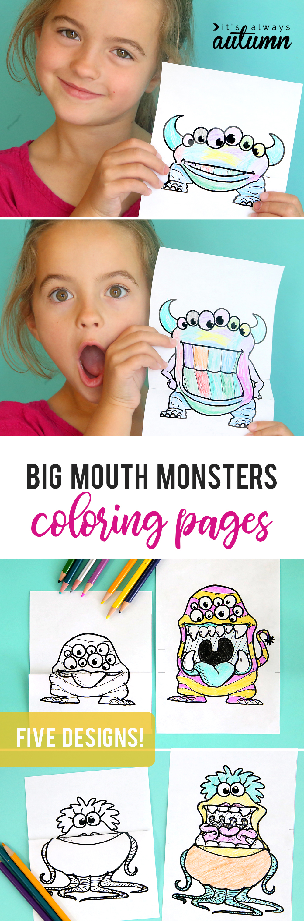 Big mouth monsters coloring pages are so much fun! Color and fold them, then open them up to reveal the giant mouth! These kept my kids busy for hours. Fun, free, easy activity for kids.