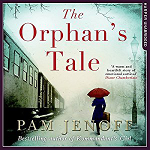 The Orphan\'s Tale book cover, with woman holding umbrella near a train