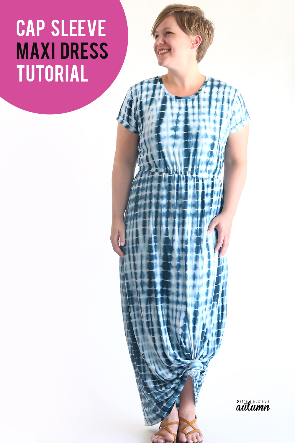 Learn how to make a cute maxi dress with sleeves! Cap sleeve maxi dress sewing tutorial.