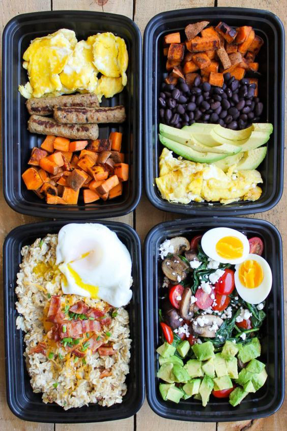 Meal prep containers full of make ahead breakfast ideas