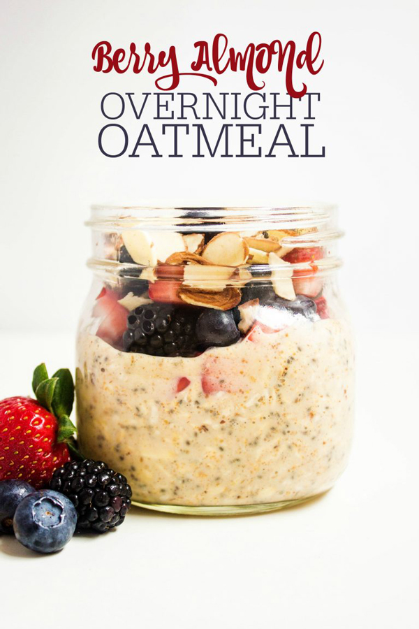 Overnight oatmeal in a jar topped with fruit