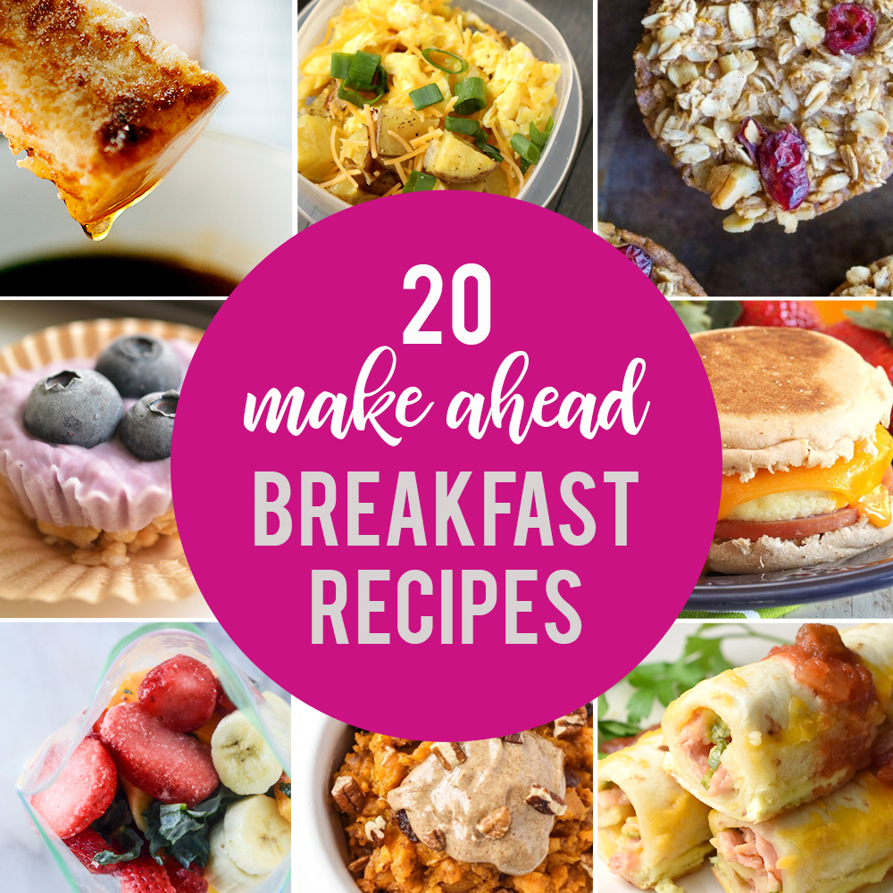 Collage of make ahead breakfast recipes
