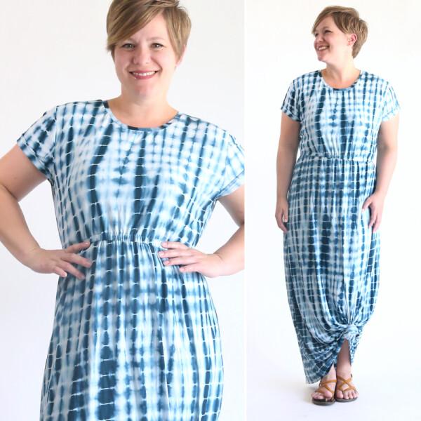 Woman wearing tie dye print maxi dress with elastic waist