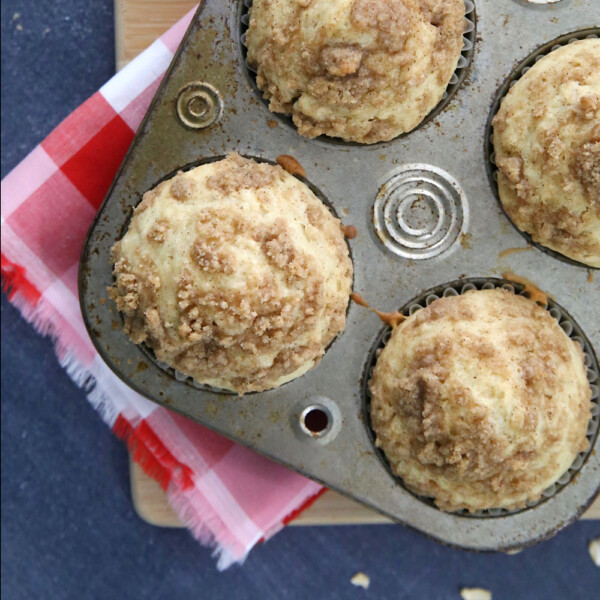 Closeup of a muffin tin with instant oatmeal muffins in it